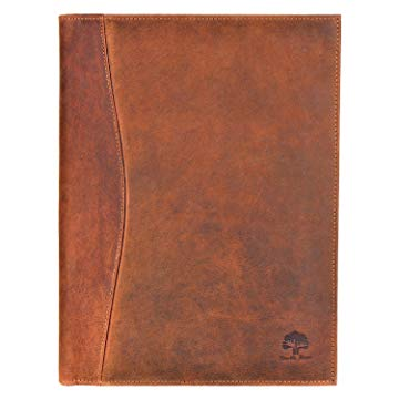 Handmade GENUINE LEATHER Business Portfolio by Rustic Town Durable Leather Padfolio with Sleeves for documents and notepad