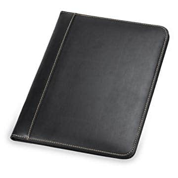 Samsill Contrast Stitch Leather Business Padfolio for Men, Black