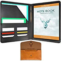 Wundermax Padfolio Portfolio Executive Leather Padfolio - Bonus Wallet, Bookmark & Notebook - Professional Gift for Business, Interview, Resume